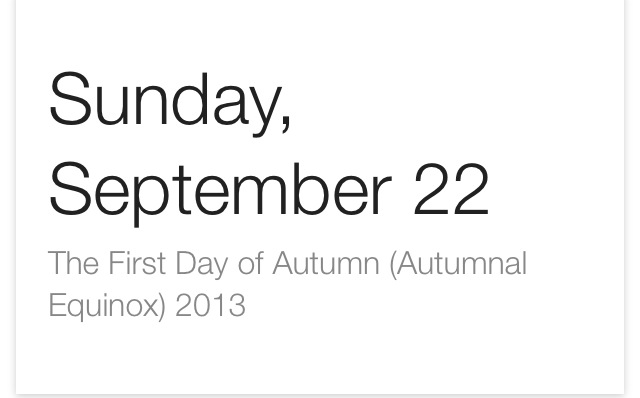 First day of autumn 2013
